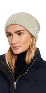 Ribbed Cashmere Beanie - Buttermilk-Sea Biscuit Del Mar