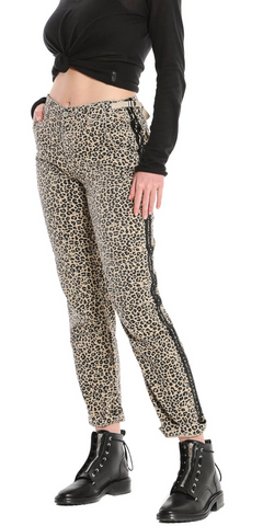 Rolled Camp Pant - Camo Leopard with Stripes-Sea Biscuit Del Mar