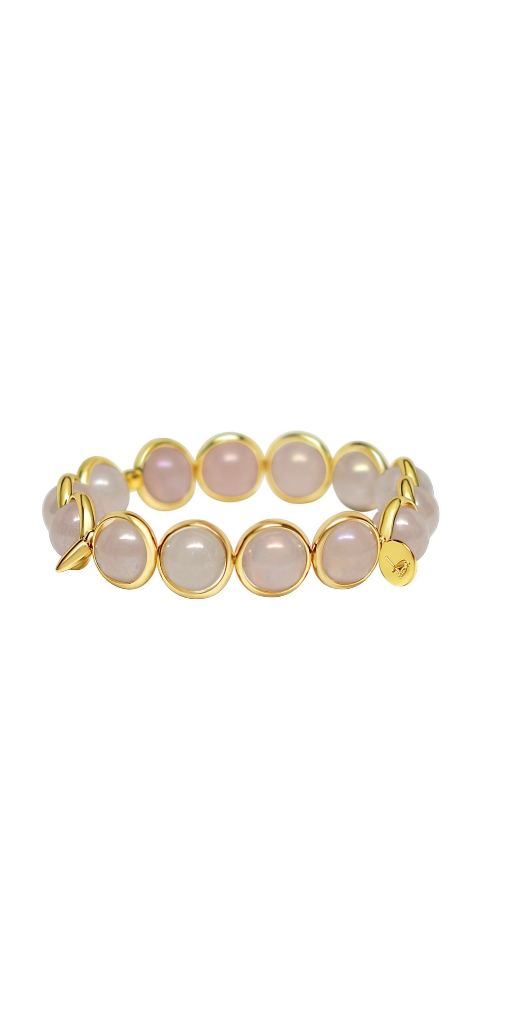 Rose Quartz Coated Bead Bracelet - Gold-Sea Biscuit Del Mar