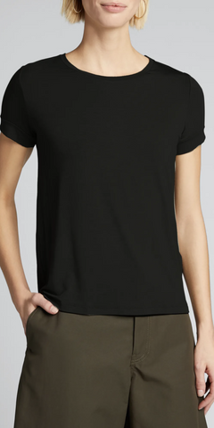 Semi-Relaxed Crewneck T-Shirt with Back Pleat - Black-Sea Biscuit Del Mar