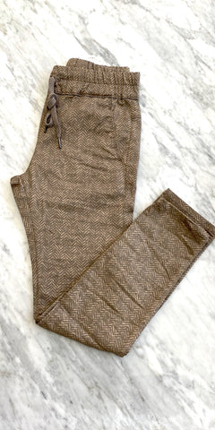 Shely Pant - Tan Herringbone-Sea Biscuit Del Mar