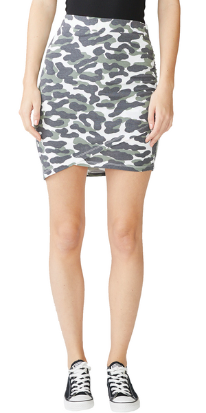 Shirred Skirt - Evergreen Animal Camo-Sea Biscuit Del Mar