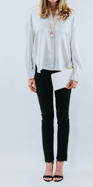 Single Pocket Silk Blouse-Sea Biscuit Del Mar