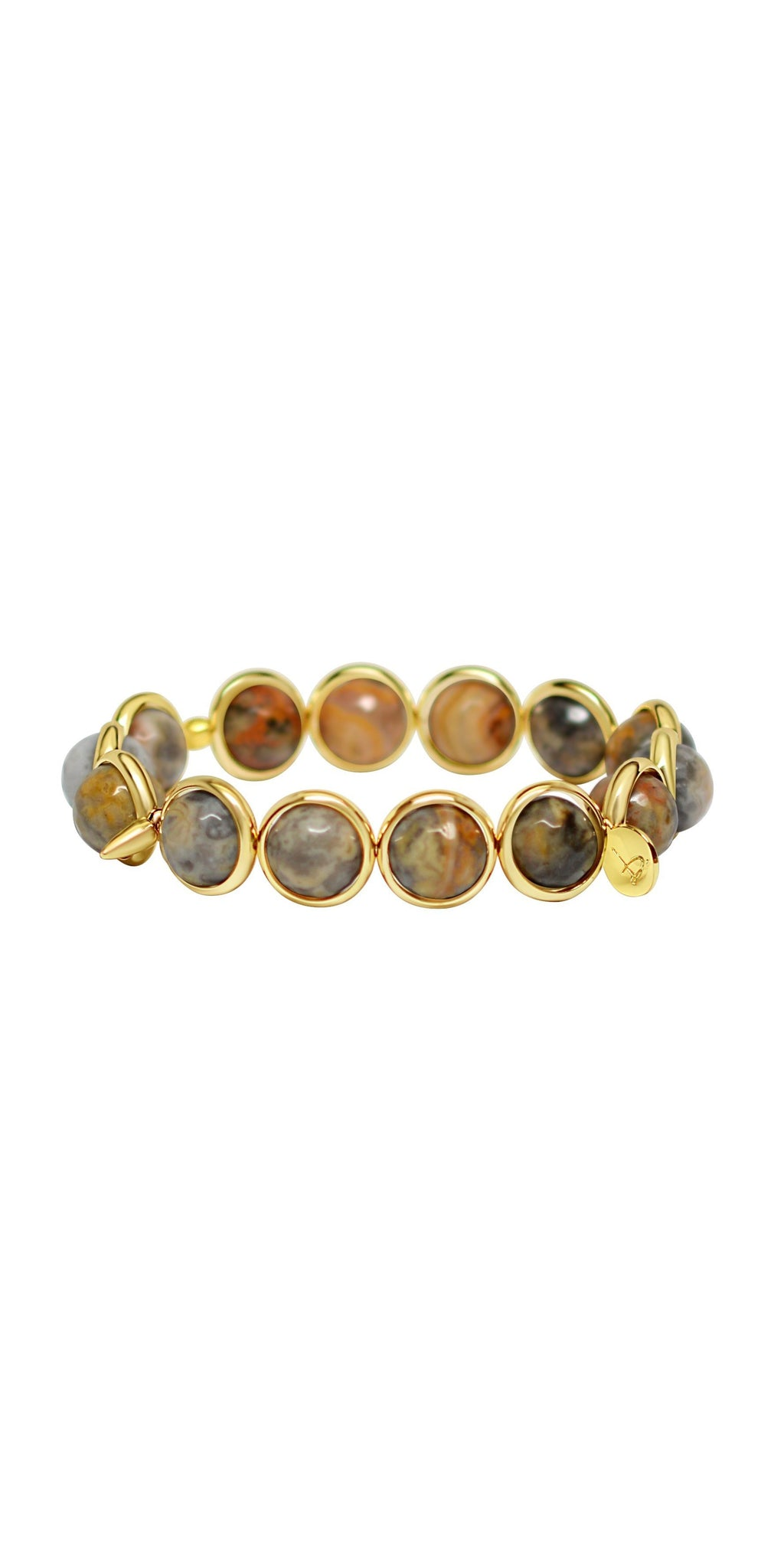 Skye Eye Jasper Bead Bracelet - Gold-Sea Biscuit Del Mar