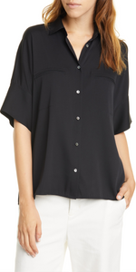 Stretch Satin Short Sleeve Blouse-Sea Biscuit Del Mar