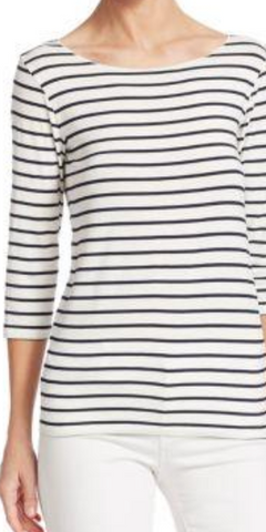 Striped Cotton Boatneck T-Shirt-Sea Biscuit Del Mar