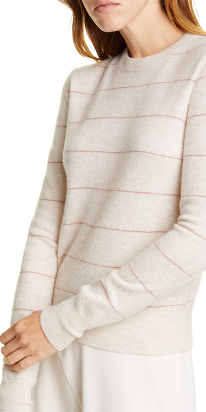 Striped Fitted Cashmere Crewneck-Sea Biscuit Del Mar