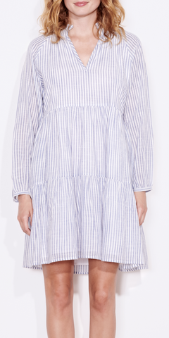 Striped Tiered Dress-Sea Biscuit Del Mar