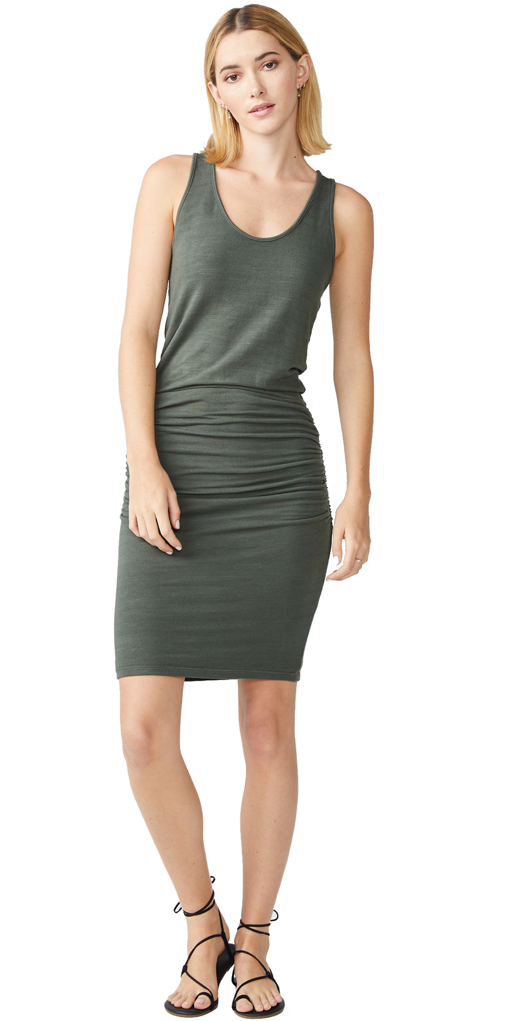 Supersoft Tank Shirred Dress - Evergreen-Sea Biscuit Del Mar
