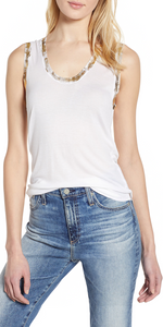 Tam Gold Foil Tank - White-Sea Biscuit Del Mar