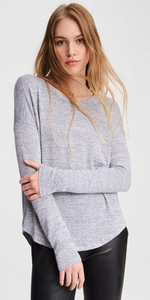 The Knit Tee - Heather Grey-Sea Biscuit Del Mar