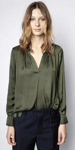Tink Satin Tunic - Khaki-Sea Biscuit Del Mar
