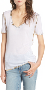 Tino Gold Foil Tee - White-Sea Biscuit Del Mar