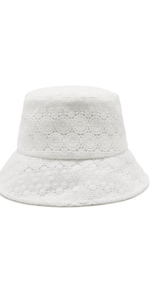 Wave Bucket Hat - White Lace-Sea Biscuit Del Mar