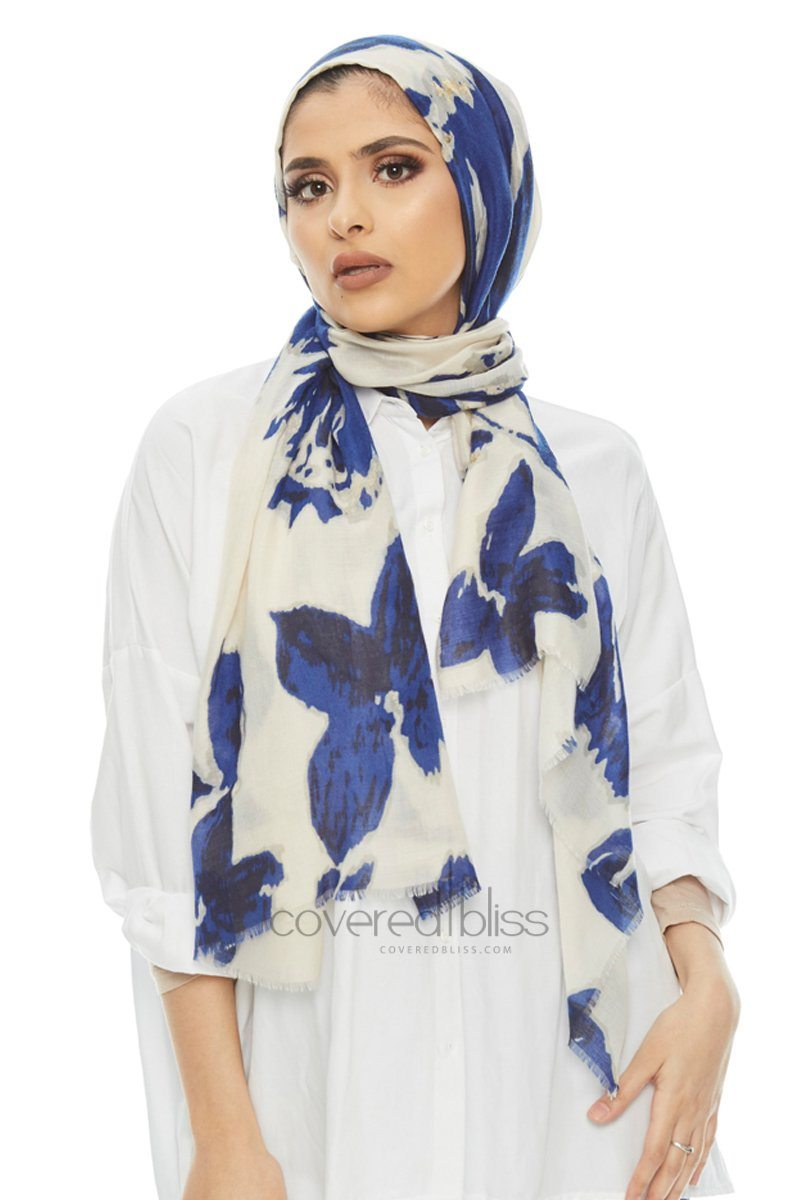 Golden Petal Printed Scarf