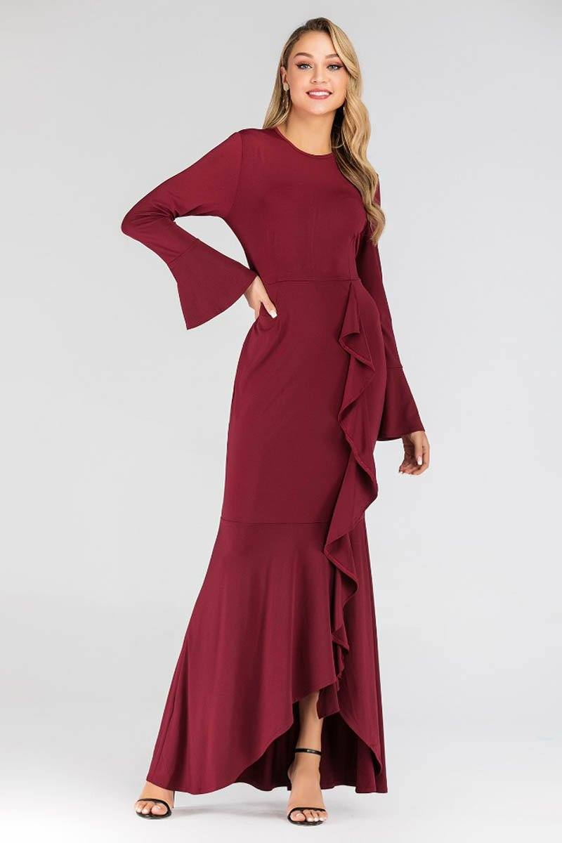 Tanya Ripple Flowy Maxi Dress Maroon