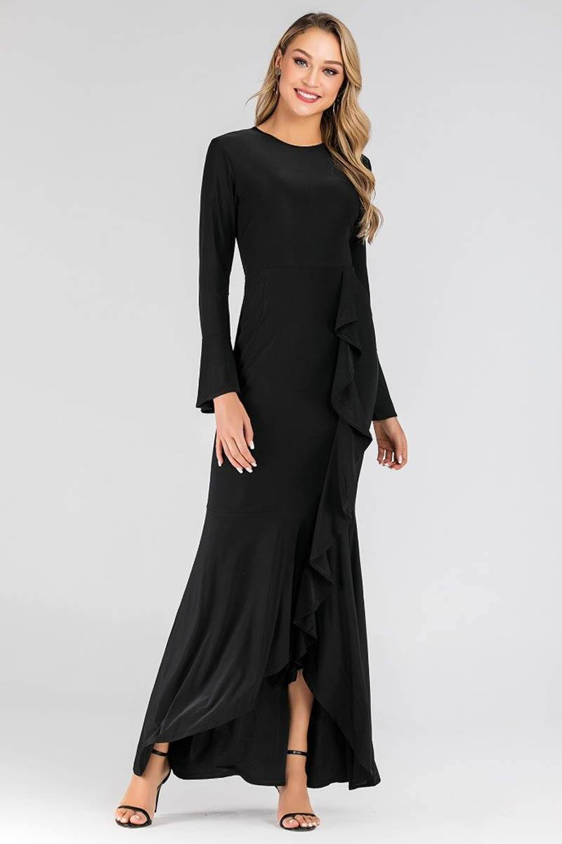 Tanya Ripple Flowy Maxi Dress Black
