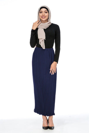 Alef Pleated Skirt Navy