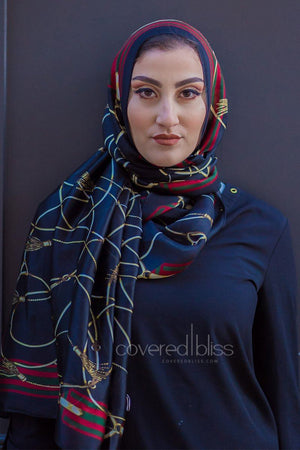 Vintage Bliss Satin Printed Scarf- Black