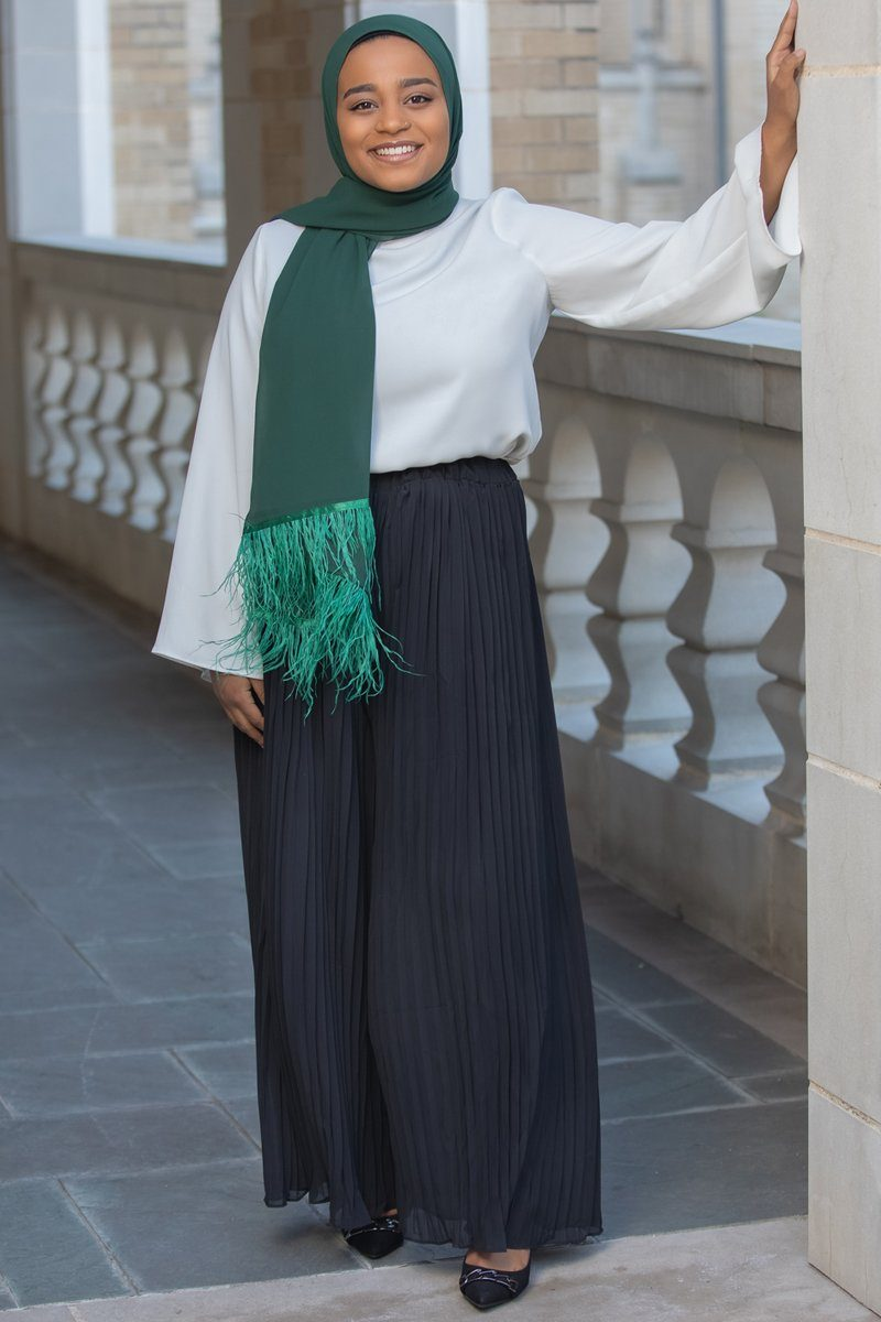Najah Pleated Chiffon Palazzo Pants Black