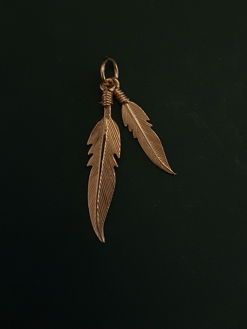 925 Sterling Silver Feather Pendant Plated With 1 Micron Pink Gold