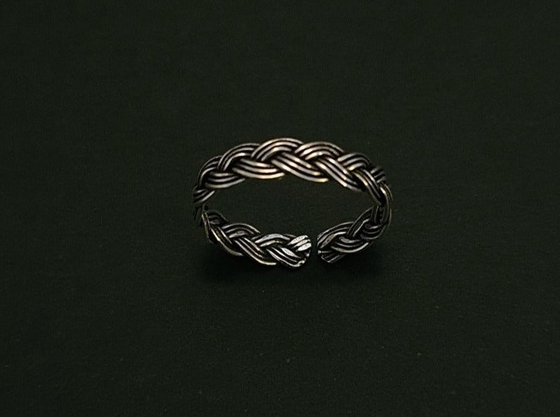 925 Sterling Silver Oxidized Weave Toe Ring