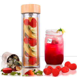 3 in 1 Glass and Bamboo Infuser Tea Bottle