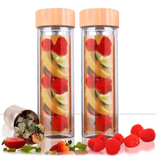 Load image into Gallery viewer, 3 in 1 Glass and Bamboo Infuser Tea Bottle