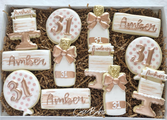 Rose Gold Birthday Cookies - 1 Dozen