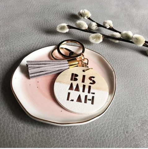 'Bismillah' wood keyring with suede tassel – various colours