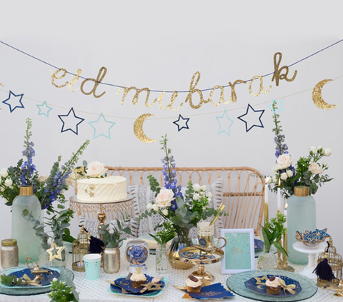Eid Mubarak Stars and Moon Garland - Blue and Gold