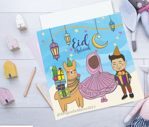 Llama Comes for Eid - Greeting Cards