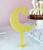 Acrylic Crescent+Star Centerpiece / Cake Topper - Gold Glitter