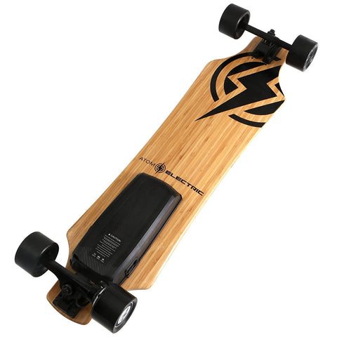 "Street E-Board - Atom Electric H10 Longboard Skateboard - 104Wh Lithium Battery - 700W Hub Motor - 36"" Bamboo/Maple Hybrid Deck - 9.3 Mile Range - 16MPH Speed - 2.4GHz Wireless Remote"