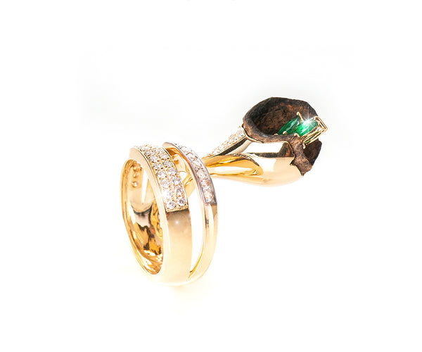 OUD RING EMERALD FLOWER