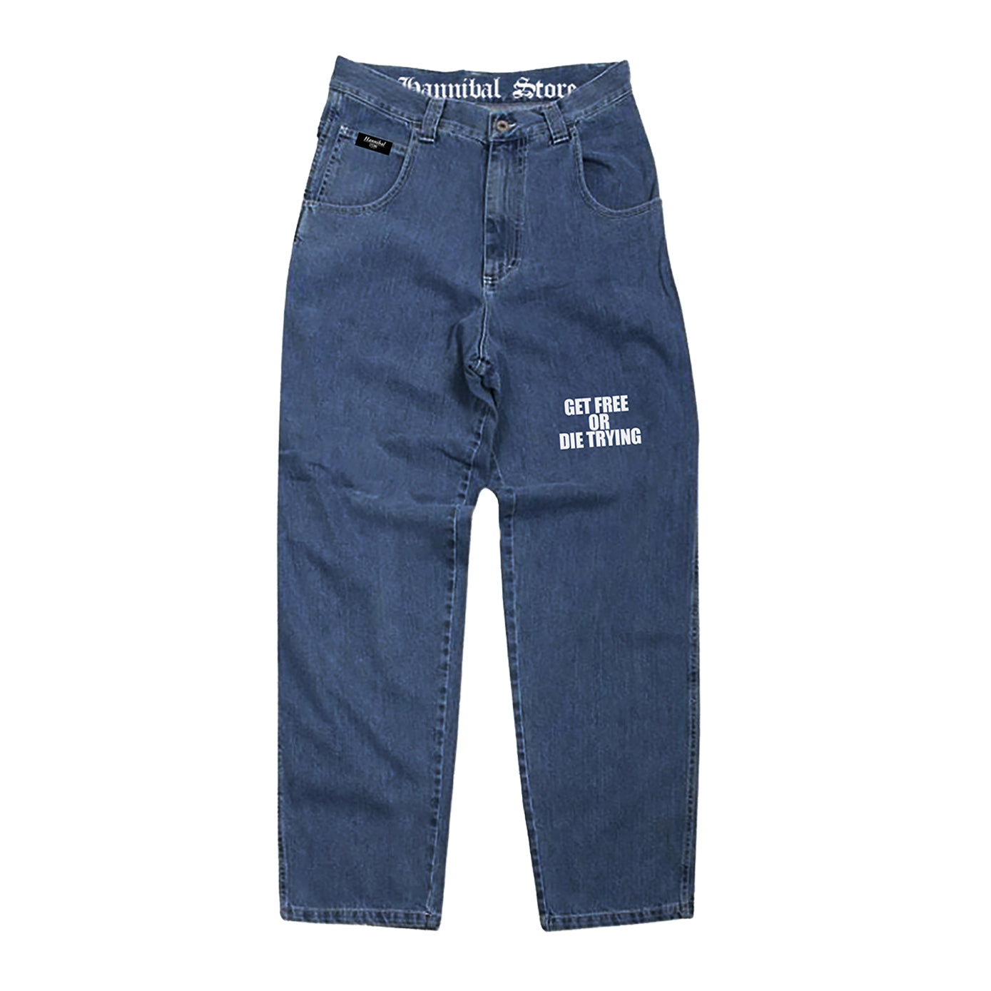 "HANNIBAL STORE DENIM ""GET FREE OR DIE TRYING"" STONE WASHED"