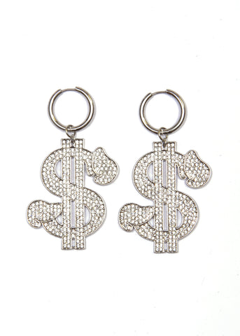 NAMILIA D-DOLLAR MINI HOOP EARRINGS SILVER