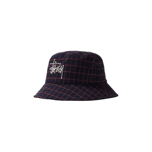 STUSSY BASIC PLAID BUCKET HAT NAVY