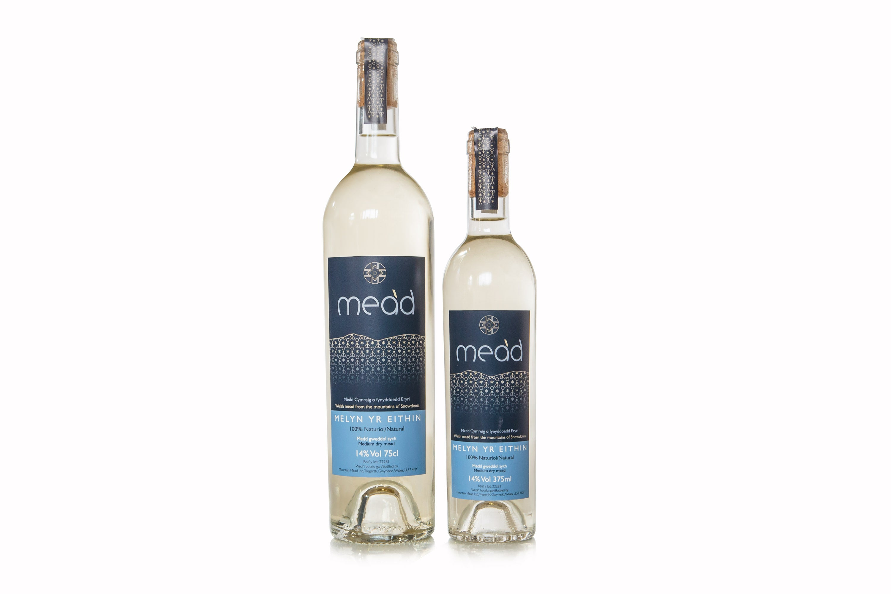 Melyn Yr Eithin 375ml and 750ml medium dry traditional Welsh mead in glass bottles with cork closures