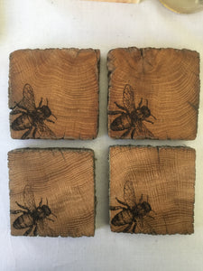 Rustic Oak Bee Coasters x 4