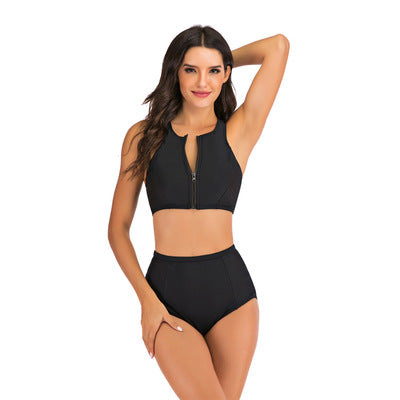 Summer Zipper Up Black Bikini - PeacefulEnergy