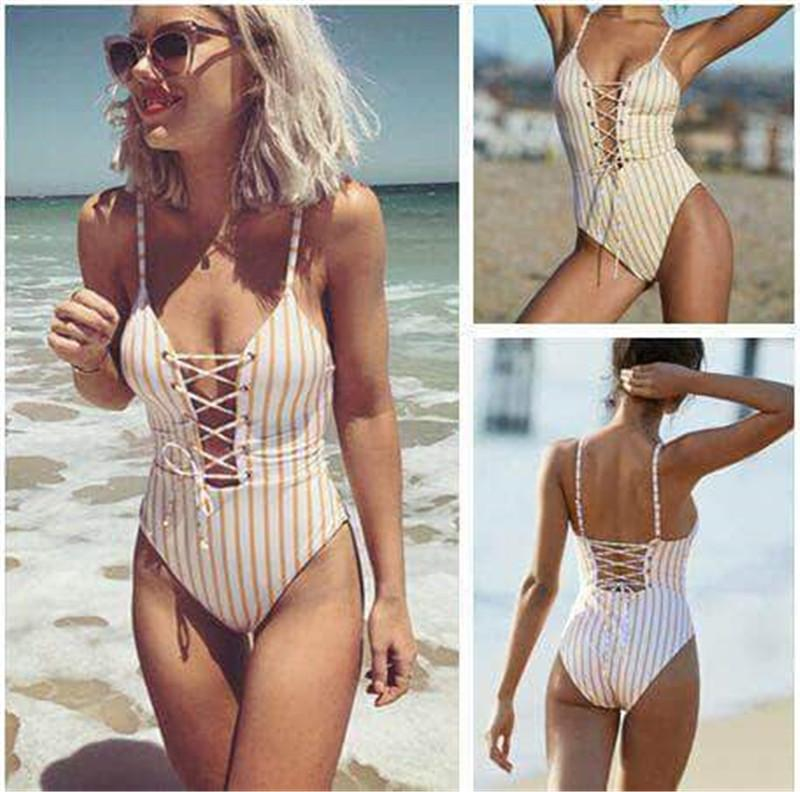 Stripes Lace Up Front One Piece Swimsuit