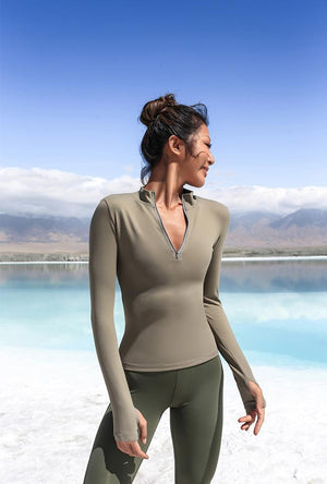 Half Zipper Pullover Active Top - PeacefulEnergy
