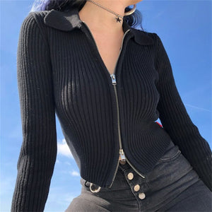 Wide-Ribbed Zipper Cardigan