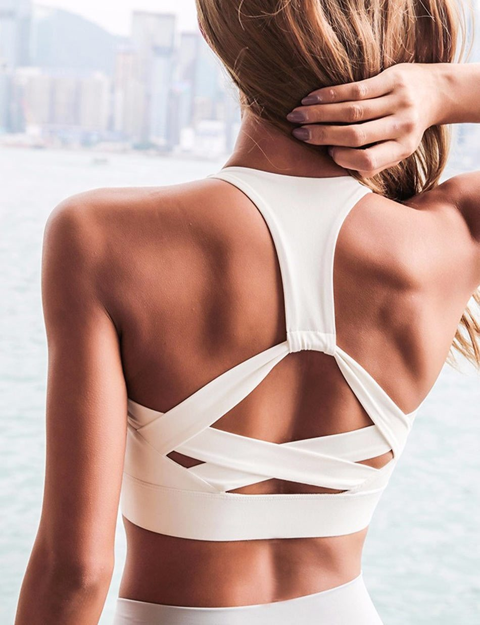 High Support Strap Padded Sports Bra - PeacefulEnergy