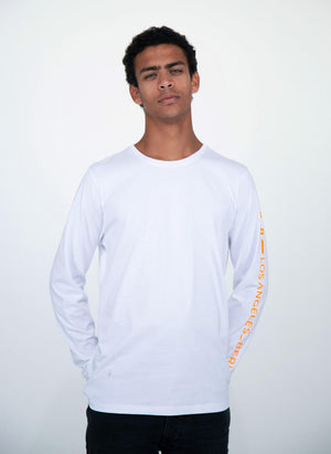 LA_B Logo Stripe Long Sleeve white orange men