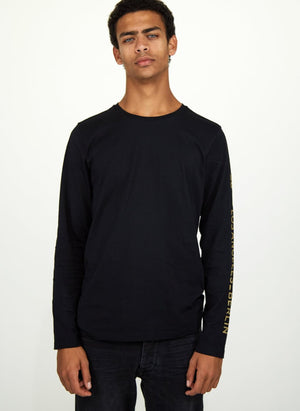 LA_B Logo Stripe Long Sleeve black gold men