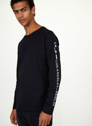 Long Sleeve T-shirt Black with Logo Stripe Silver Reflective