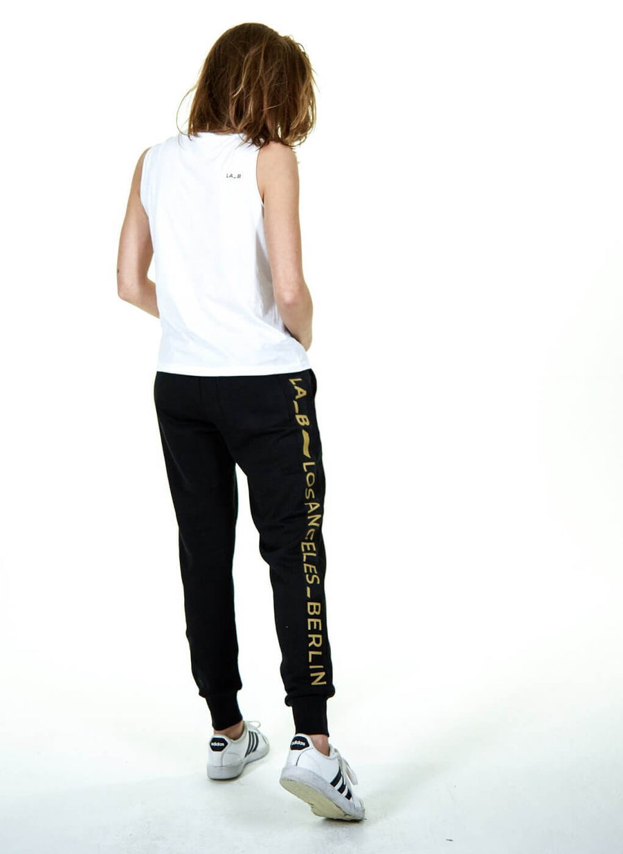 LA-B Gold Logo Stripe Sweatpants women