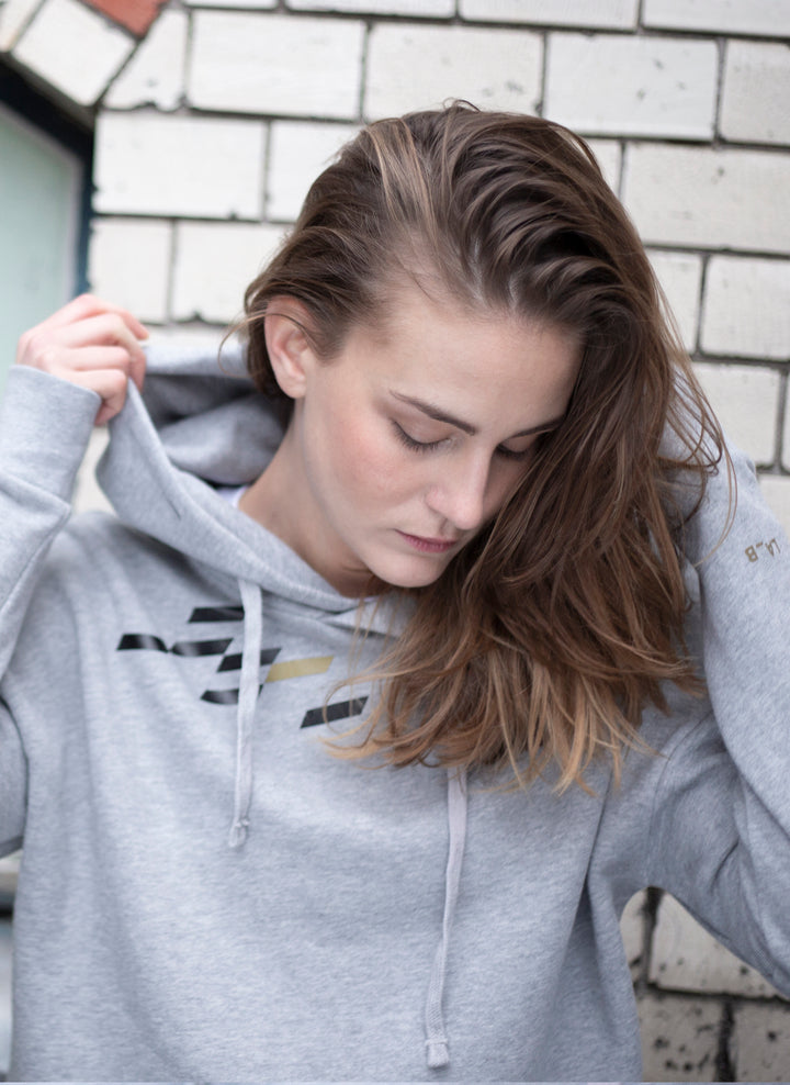 Dashspot Hoodie Heather Grey Gold